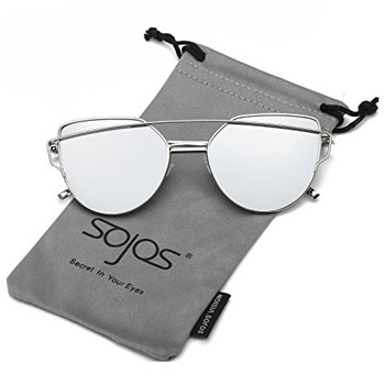 6. SojoS Cat Eye Mirrored Flat Lenses