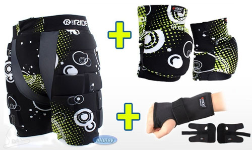 1. Snoride Snowboard Protection Equipment Special Full Set Hip+Knee+Wrist+Storage RP08
