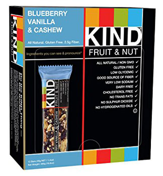 1. KIND Bars, Blueberry Vanilla & Cashew,