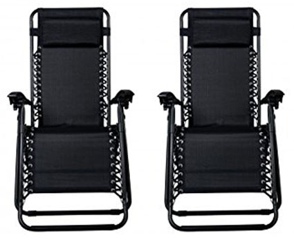 9. Zero Gravity Chairs Case Of (2) Black Lounge Patio Chairs