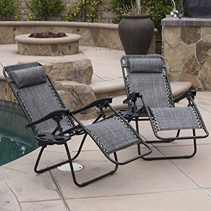3. Belleze 2-Pack Zero Gravity Chairs Patio Lounge