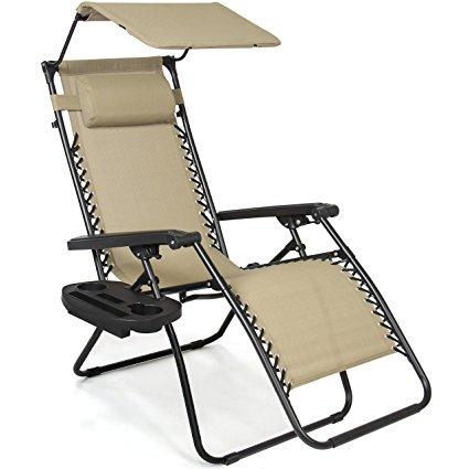 6. Best Choice Products Zero Gravity Canopy Sunshade Lounge Chair