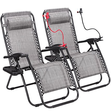 2. 2-Pack Zero Gravity Outdoor Lounge Chairs