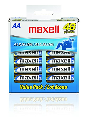 9. Maxell 723443 Alkaline Battery AA Cell 48-Pack