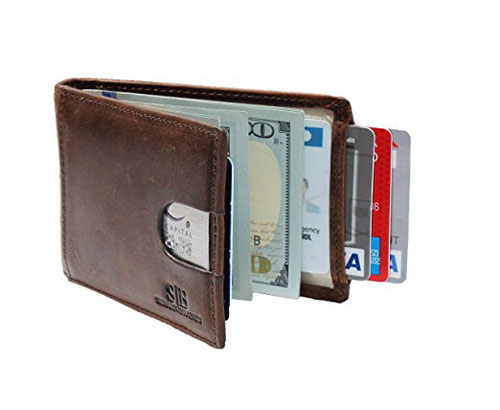 9. SERMAN BRANDS- RFID Blocking Bifold Slim Genuine Leather Wallets for Men