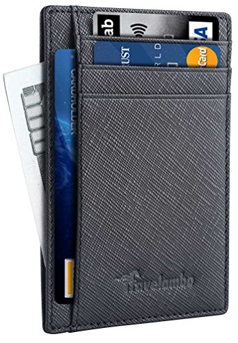 5. Travelambo Front Pocket Minimalist Leather Slim Wallet