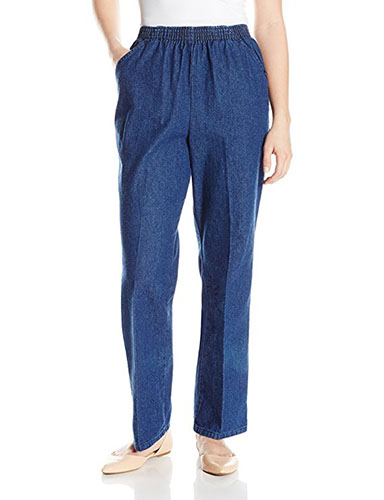 7. Chic Classic Collection Women's Cotton Pull-on Pant with Elastic Waist