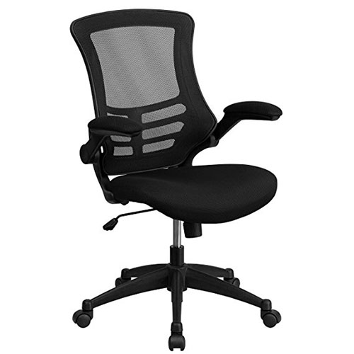 8. Flash Furniture Mid-Back Black Mesh Swivel Task Chair w/ Flip-Up Arms