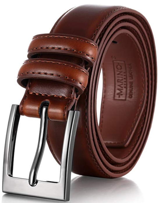 10. Marino's Men Genuine Leather Dress Belt with single Prong Buckle