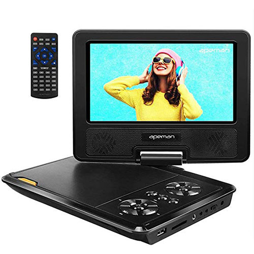 1. APEMAN 7.5'' Portable DVD Player for Kids and Car Swivel Screen Support