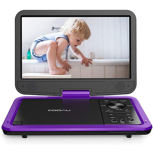 "3. COOAU 12.5"" Portable DVD Player with HD Swivel Screen"