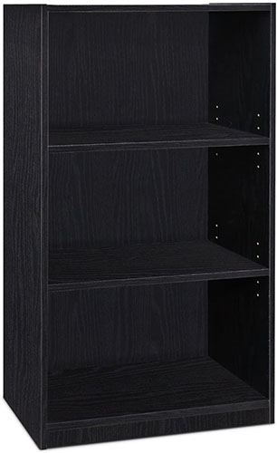 5. 3-TIER, BLACK ADJUSTABLE SHELF BOOKCASE FROM FURINNO JAYA