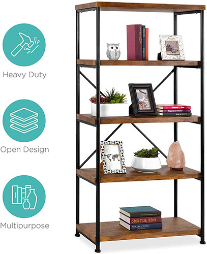2. 5-TIER RUSTIC INDUSTRIAL WOOD BOOKSHELF WITH METAL FRAME BY BEST CHOICE PRODUCTS